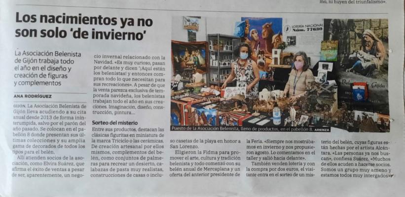 Entrada del diario El Comercio del 22 de agosto, dedicada a la Asociación Belenista de Gijón
